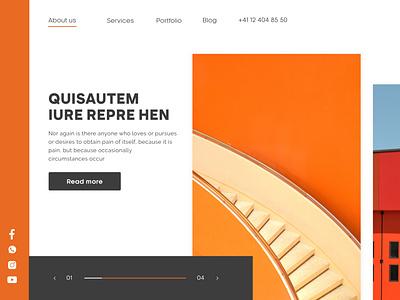 Main Page Web Design orange user interface designs mainpage webdesign ux interaction creative ui colorful design