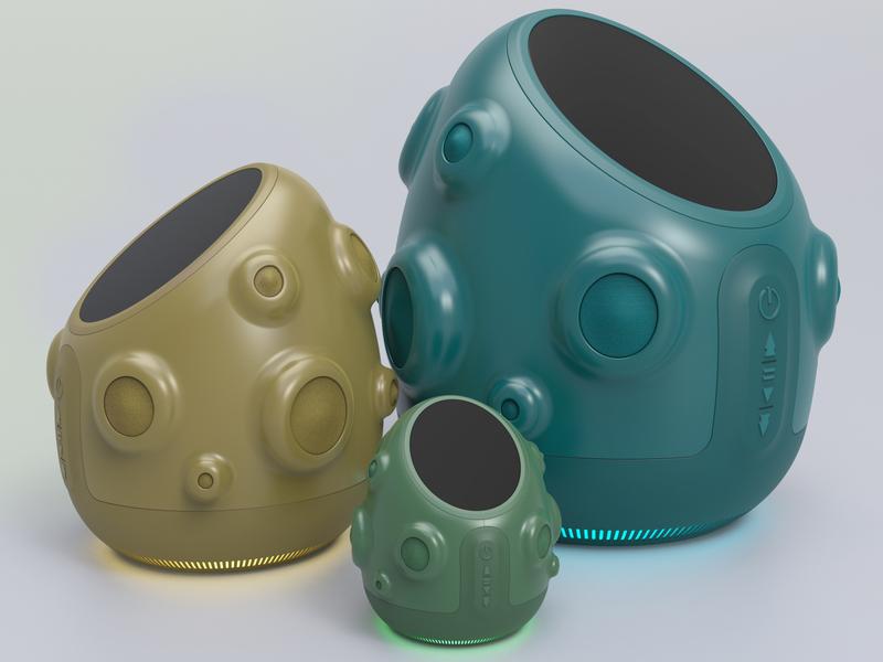 Cactus Smart Speaker industrial design speaker cactus color product design rendering 3d keyshot design render