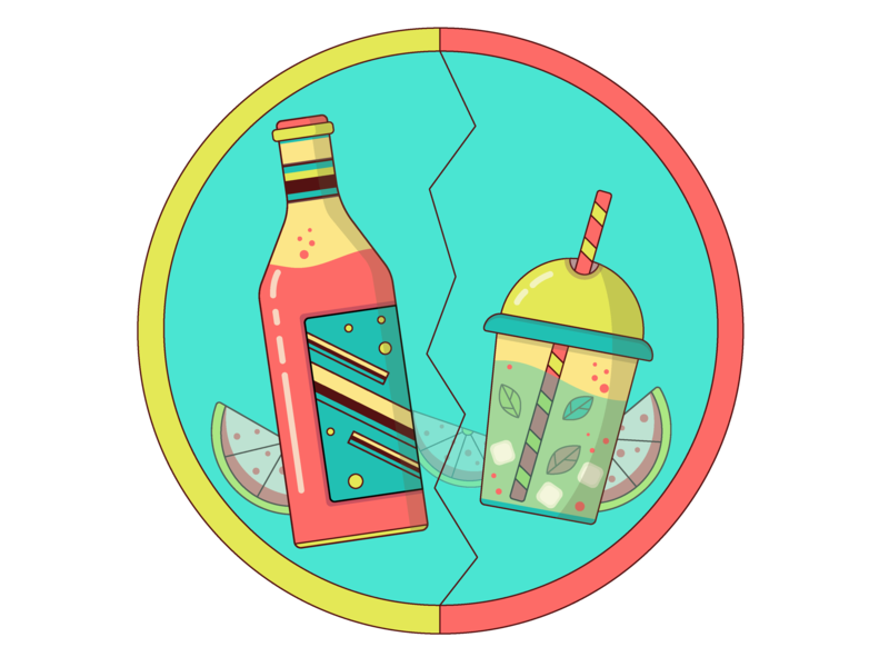 Let's Party! relax vacation logo glass lemonade fun party fruit drink icon summer illustration illustrator flat design vector
