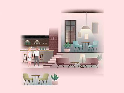 Mr & Mrs Harris cafe cover illustration