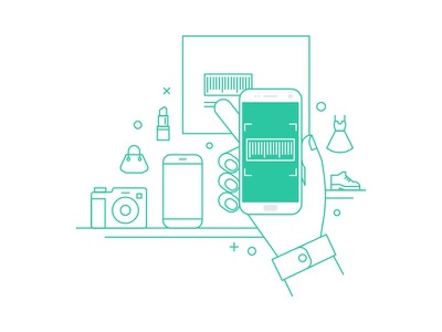 Scanning Barcode feature apps illustration