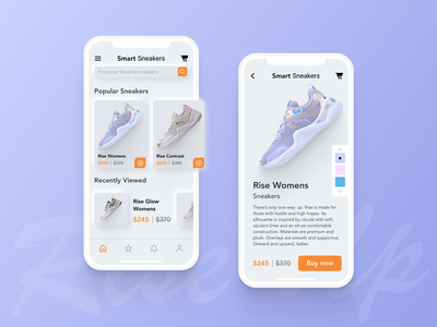 Smart Sneakers Shop illustration app ux ui design