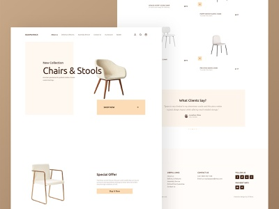 Equipaspace Shop Landing Page interface  interior design user interface home  interaction design new concept new collection color webdesign stools chair furniture minimal ux ui web landing page concept