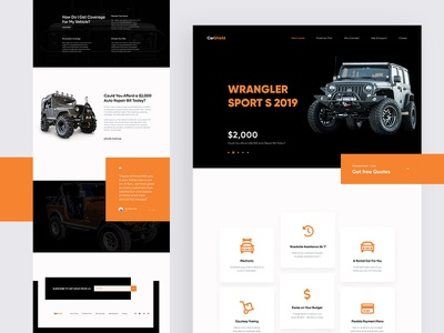 CarShield Landing Page Design ux ui machine learning automotive off road auto wrangler web design website landing page design webdesign landing page landing page concept web minimal car