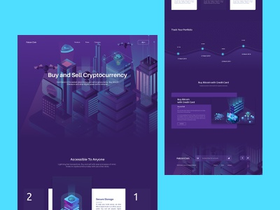 Falcon Coin Cryptocurrency Landing Page illustration webdesign landing page concept design minimal ux ui bitcoin cryptocurrency landing page crypto cryptocurrency