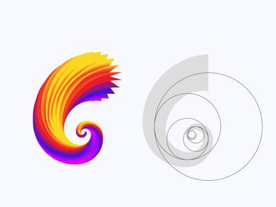 Golden Ratio Spiral agency logodesign geometric violet transparency magenta golden spiral technology game industry circle symbol colorful 3d simple fibonacci ratio spiral golden ratio logo golden ratio branding