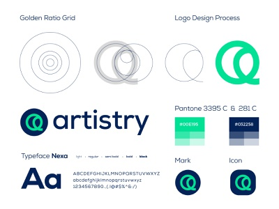 Golden Ratio Logo Design - Artistry a creative designer logo mark typography conceptual logo business logo logo designer corporate grid logo grid illustrator idenity app logo app icon app logo process goldenratio golden ratio logo design golden ratio branding