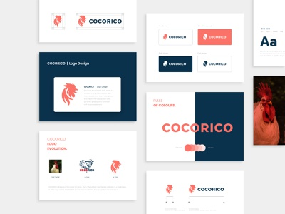 Cocorico Logo Redesign redesign logo redesign red logo concept sunrise flat variations logo brand guide template style guide typography logo design symbol egg rooster logo digital animal cocorico brand book branding