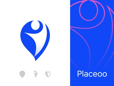 Placeoo Logo Design futuristic humans graphicdesign best designer logo designer logos human head best shot best logo creativity combined app place location people abstract