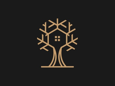 Tree House Logo estate modern graphic mark barnding logo design lineart creative home tree house tree