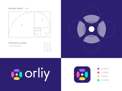 Golden Ratio | logo Concept colorful product branding appstore wordmark color palette o logo monogram logo icon app golden ratio negative space golden ratio logo colorful fun pentagon geometry web illustration app typography icon logo design modern logo branding