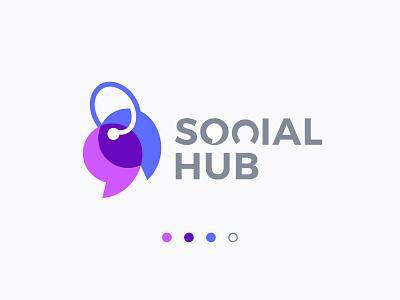Logo Design-Social Hub logos colorful logodesignchallenge logo design branding product design negative space logodesigner vector typography icon mark symbol modern social network socialmedia social app logotype logodesign logo