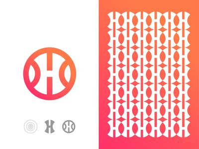 Negative Space Letter H app logo, Pattern