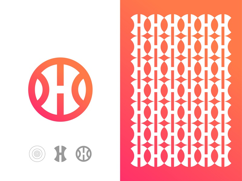 Negative Space Letter H app logo, Pattern h app gradient color golden ratio logo connection fresh print designer vector icon mark symbol hlogo latter mark creative pattern negative space logo corporate pattern app apps platform logo design modern logo branding