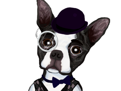 Retro boston terrier