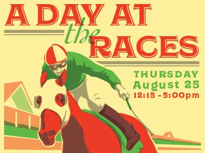 A Day at the Races wojcicki chris event race horse races progress risograph illustration poster
