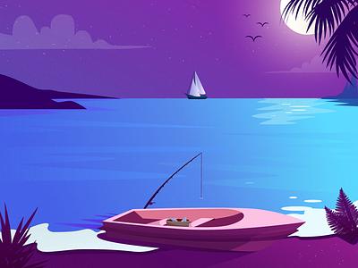 Tropic landscape graphic design illustration