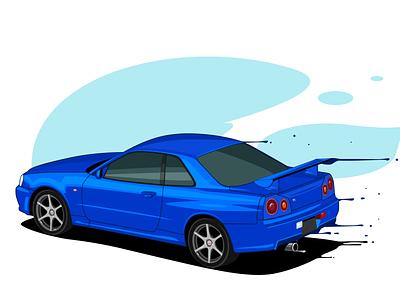 Nissan Skyline R34 design graphic illustration