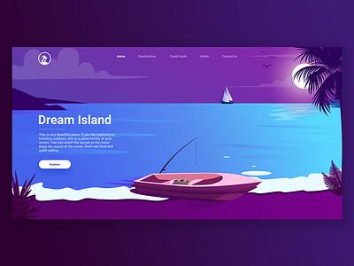 Dream Island illustration tropic island web design