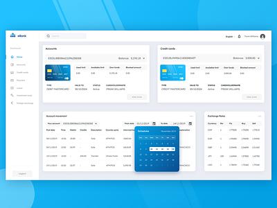 Bank account dashboard web design