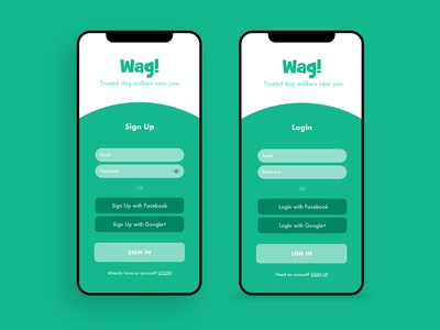 Wag! Dog Walking App Sign Up and Login Screens