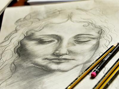 Leonardo leonardo paper illustration pencils woman eyes sensuality light shadows drawing sketch da vinci