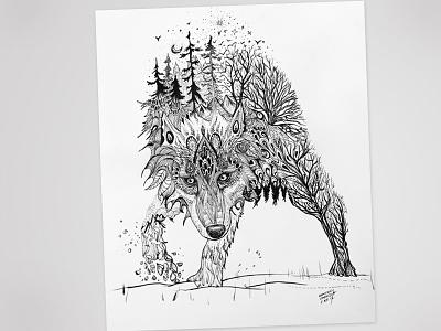 Mandala Wolf elements tattoo ink black lupo pen protect mothernature animal wildlife wolf mandala