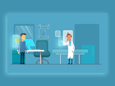 DOCTOR Office cabinet médical medecin health vector flash animation elearning care medical illustration flat flat color office doctor