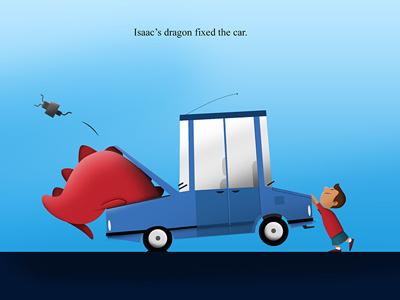 Dragon Fixes Car illustration concept character