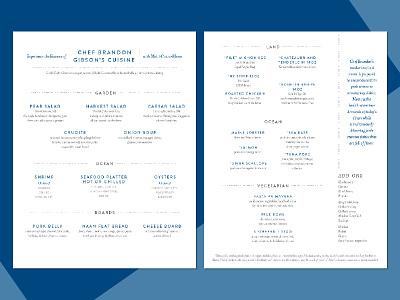 Restaurant Menu blue simple clean high end food restaurant menu