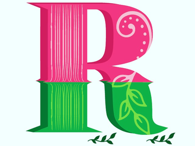 R nature flowers roses shape design letter
