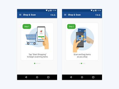 Shop & Scan Help Steps wireframe ui ux user user center design steps illustration art director design uxdesign uidesign help steps