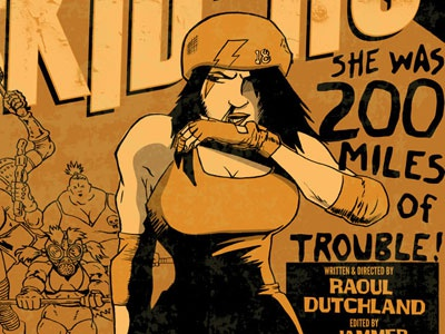 Beyond The Rollerdome rollerderby poster texture typeface orange mad max