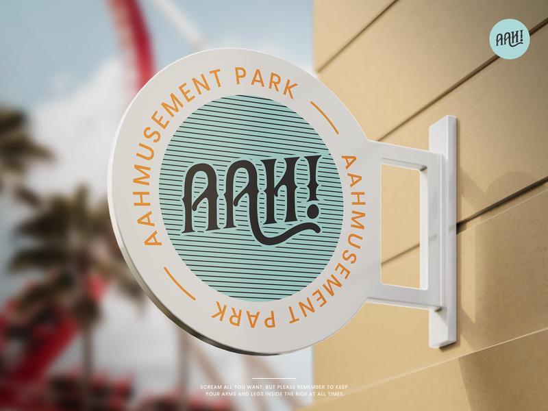 Aahmusement Park vintage badge photoshop illustrator fun rollercoaster signage amusement park vector lettermark brand blue abstraction logo branding dribbbleweeklywarmup