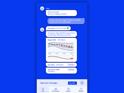 Cryptocurrency bot bot crypto cryptocurrency mobile design ui design