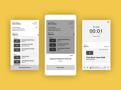 Exercise app wireframes mobile app wireframes