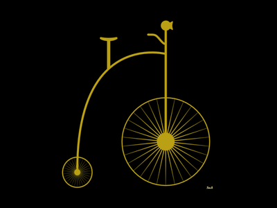 Penny-Farthing vector minimal flat illustration design