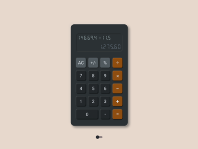 Neumorphic Calculator Dark Mode clean design neumorphism minimal typography ui