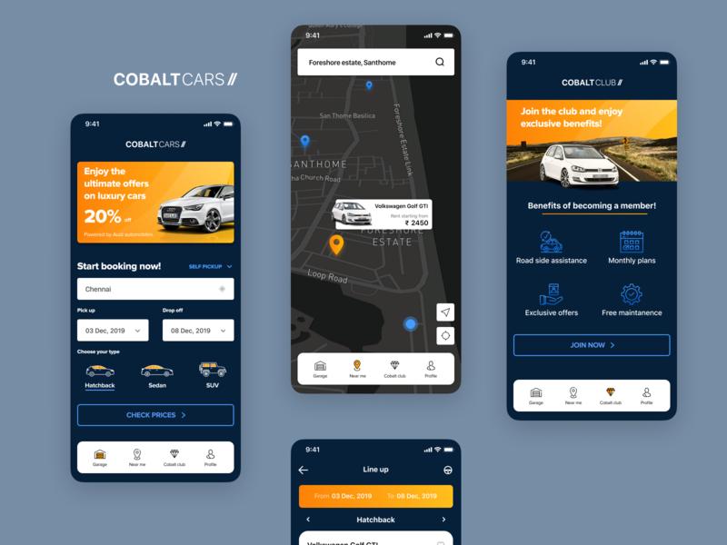 Mobile app UI design for car rental