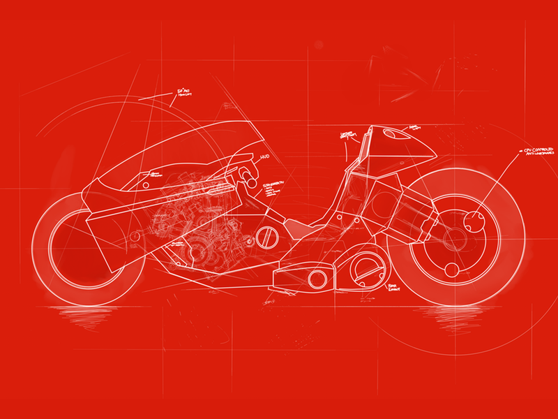 Kanedas bike blueprint by preston rhoads dribbble blueprint of kanedas iconic motorcycle from the classic akira this is a personal project i have been working on for a while now malvernweather Images