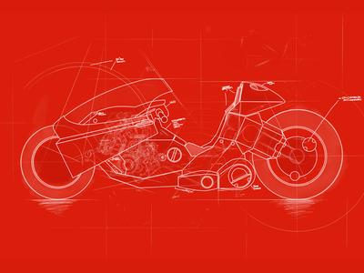 Kanedas bike blueprint by preston rhoads dribbble kanedas bike blueprint malvernweather Image collections