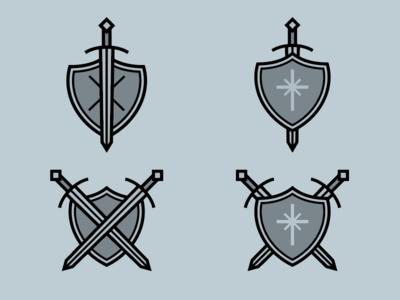 Something different badge symbol shield sword icon design icons