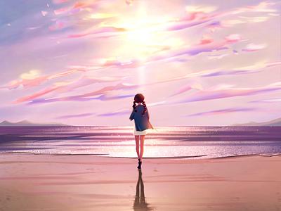 The sun is setting illustration
