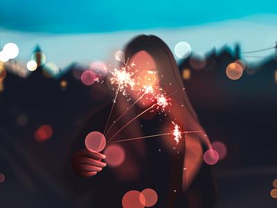 New Year Fireworks illustration