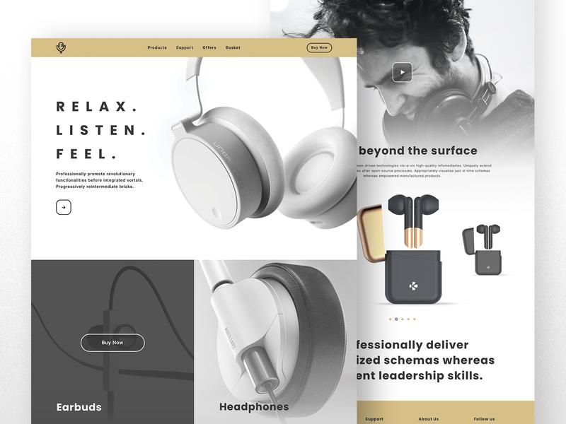 Multiple Brand Webpage landing page design landing page earphones earpods earphone earbuds headphone web design website design webdesign app typography website web flat concept ux design design minimal ui