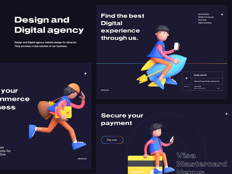 Digital Agency Website pixorus typography webdesign landing page design design agency digital agency landing page website design web design website web vector flat app ux design concept design clean minimal ui