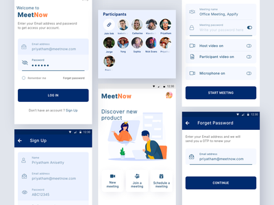 MeetNow App Design social media android app design mobile app design interface design app design ui ux communication interview video call meeting room meet chatting messaging meeting app