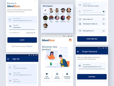 MeetNow App Design social media android app design mobile app design interface design app design ui ux communication interview video call meeting room meet chatting messaging meeting app