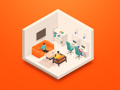 Healthy and Safe Workplace website gradient colors app illustration web illustration employee flat creativealiens office workplace isometric illustration isometric design isometric illustrations clean vector illustration art illustration design