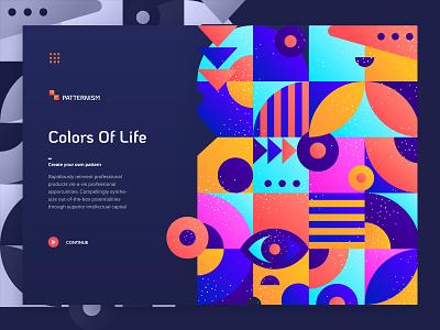Patternism - Landing Page web ux flat ui minimal pattern bacis clean layout colors ui ux design typography pattern illustration gradient webdesign website